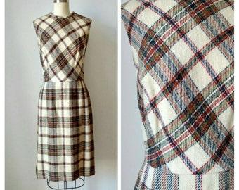 CLEARANCE 1960s Plaid Wool Wiggle Dress | Vintage 60s Sleeveless Cream Red Green Sheath Dress | Retro Women's Knee Length Day Dress | Medium
