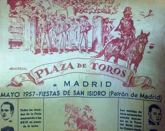1957 Running of the Bulls Silk madrid Spain Bull Fighters Vintage
