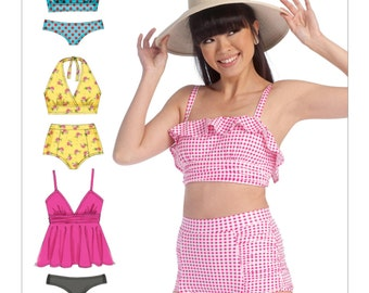 McCall's M7168 Misses' Bikinis Misses' Vintage Style Bikinis, Two-Piece Swimsuits Sewing Pattern