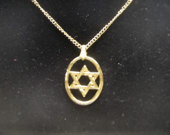 Star of David In Oval, Necklace, Real Gold Plate on Lead Free Pewter