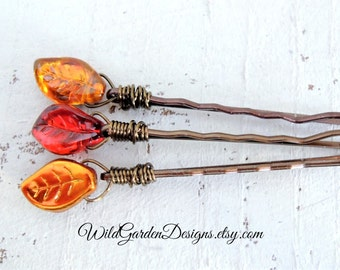 Fall Leaves Hair pins Red Gold Autumn Leaf Bobby Pins Woodland Wedding Decorative Hair Pins