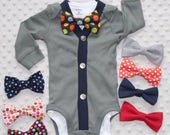 Baby Boy Cardigan and Bow Tie Set, Army Green and Blue, Baby Suit, Baby Bow Tie Outfit, Baby Boy Clothes, Preppy Baby Boy Outfit
