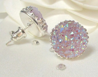 Purple Mauve Color Druzy Silver Stud Earrings, Bridesmaid Gift, Wedding Earrings, Bridal Jewelry, Gift