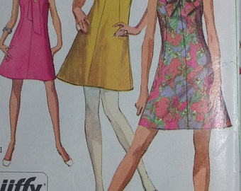 UNCUT and FF Pattern Pieces Vintage Simplicity 7625 Sewing Pattern Size 14 Bust 36 Jiffy Dress in Two Lengths