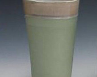 Tumbler, Recycled Green & Sand cup, porcelain cup, water cup