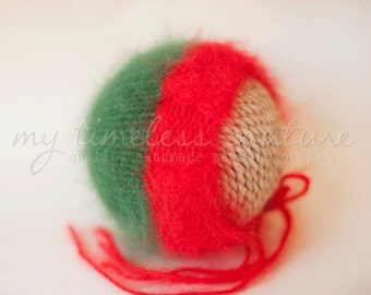 Newborn {Christmas Cables} Knit Angora Bonnet - Newborn Photography Prop - Several Color Options