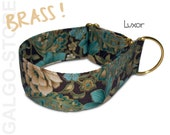 "paisley dog collar *Luxor*; roses, brass, gold print, custom, martingale, buckle or tag collar; wide 1""- 2"", greyhound, whippet collar"