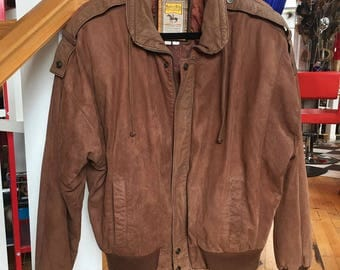 1990's Vintage Brown Leather Bomber Jacket Men's Small by Hunter's Run