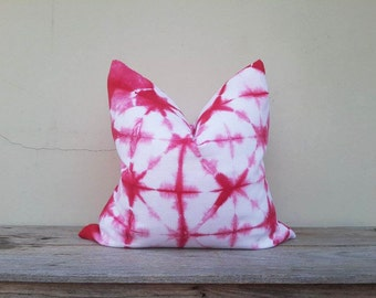 """Red and white pillow cover, pillow cover,tie dye pillow cover 20"""" x 20"""""""