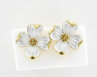 TRIFARI Gold tone white enamel Dogwood flower Clip Earrings 1960s gardening jewelry