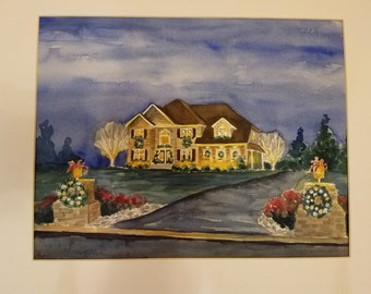 """Example of custom watercolor house painting artwork by Sally T. Crisp 12"""" x 16"""""""