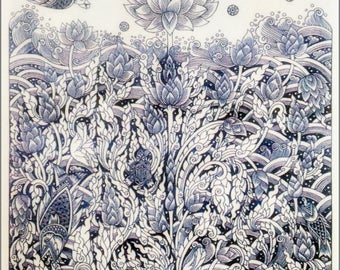 Thai traditional art of Four of these lotus by printing on Natural colors cloth