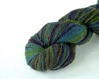 Artistic wool, laceweight art wool blue green purple colors, Longstriped artistic wool. Aade Long - Lavender
