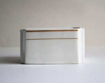 Vintage Butter Dish With Gold Trim