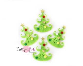 Decorated Green Felt Christmas Tree Applique - Flat Back Felt Appliques -Felt Crafts -Felt- Felties- Felties for clips - Feltie - Feltie DIY