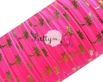 Neon Pink and Gold Metallic Palm Tree Print Elastic- Summer Elastic Under the Sea FOE Beach Theme