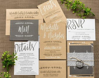 Wedding Invitation | Chic Modern Rustic Industrial