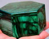 Cyber Sale! Malachite Hexagon Box Over 3 Inches wide, From the Congo Gorgeous Patterns