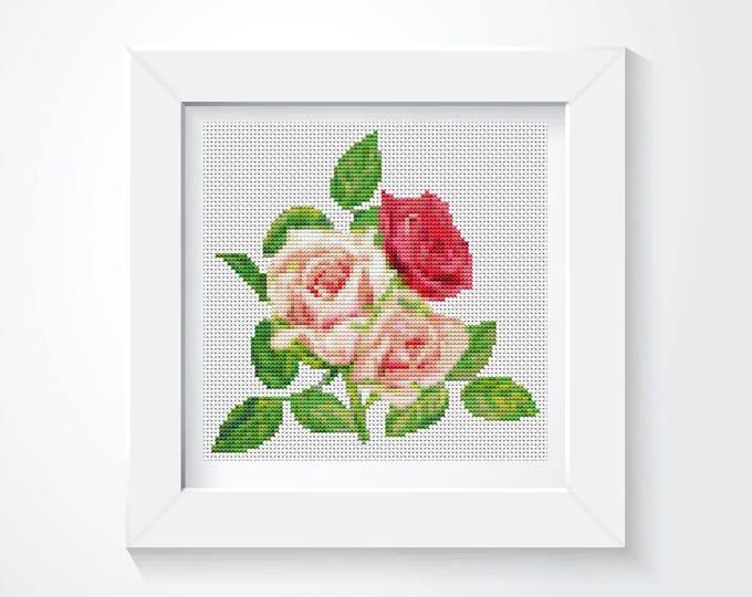 Mini Cross Stitch Kit, Embroidery Kit, Art Cross Stitch, A Trio of Pink Roses (TAS124)