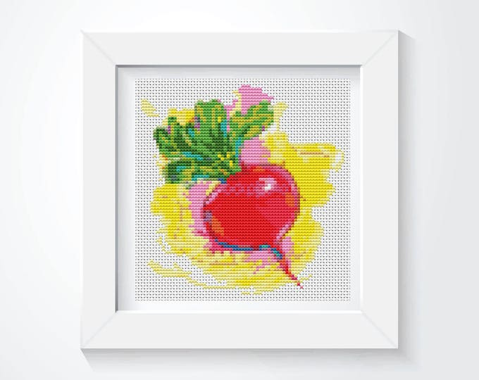 Mini Cross Stitch Pattern PDF, Embroidery Chart, Art Cross Stitch, Kitchen Mini Series: The Beet (TAS132)