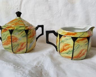 Vintage RW Made in Germany Sugar and Creamer Rulolff Wachter Lusterware