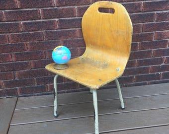 "Vintage Wood School Chair, 13"" size"