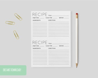 Recipe Cards Minimal a4/a5 Interactive and Printable Files Included INSTANT DOWNLOAD