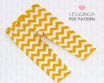 Baby leggings pattern, baby sewing pattern pdf, baby pants pattern, leggings pattern, girls sewing pattern, baby clothing, EASY LEGGINGS