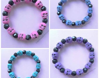 Purple Black Blue Pink Teal Skull Bracelet Faceted Beads-Gothic, Gothic Lolita, Goth, Victorian,Fantasy, Creepy Cute