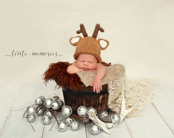 Reindeer  Hat , Christmas hat , knitted newborn hat