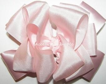Blush Pink Hair Bow, Light Pink Silk Clip, Powder Pink 100% Pure Silk Satin Ribbon Bows, 1st Birthday Pink Hair Bow, Baby Pink Bow Head Band