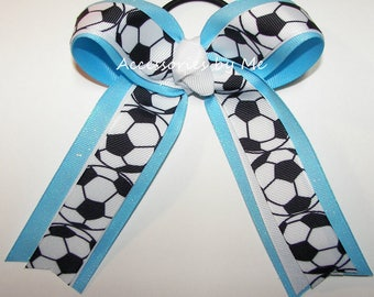Soccer Hair Bow, White Blue Sparkly Ball Ribbon Hairbow, Ponytail Holder Elastics Ties, Team Spirit, FIFA World Championship, Bundle Bows