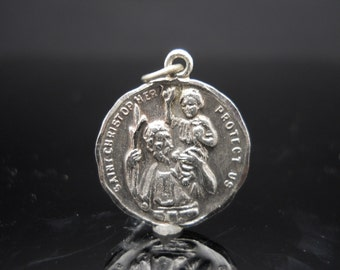 Sterling Silver 925 Round Saint Christopher Medal Pendant Charm Protect Us Jewelry I Am A Catholic