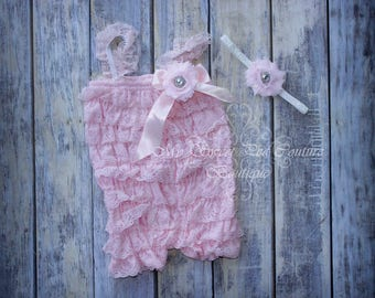 Light Pink Embelished Lace Romper & Headband Set- First Birthday Outfit- Petti Romper- Cake Smash Outfit- Newborn Petti Romper- Headband