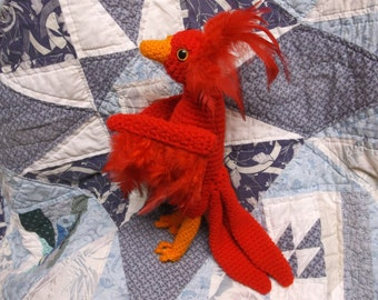 Crochet phoenix, phoenix amigurumi, feathered bird, mythical bird, ready to ship