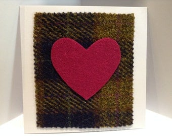 Scottish Tweed Valentines Card with a Pink Felt Heart