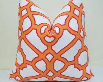 Fretwork Tangerine Pillow Cover - Kaufmann Pavillion  - Throw Pillow - Decorative Pillow - 20 x 20 - Tangerine- Red - Off White