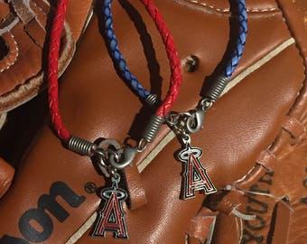 Anaheim Angels Braided Leather Bracelet