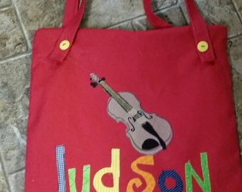 Large Personalized Girl Tote Bag, Music Tote Bag, Personalized Tote for Kids, Violin Canvas Tote Bag, Cello  Tote Bag, Kids Tote Bag