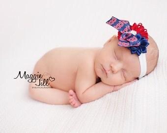 Boston Red Sox Headband, Red Sox Baby Headband, Red Sox Headband Hair Bow, Red Sox Photo Prop, Red Sox Newborn Headband
