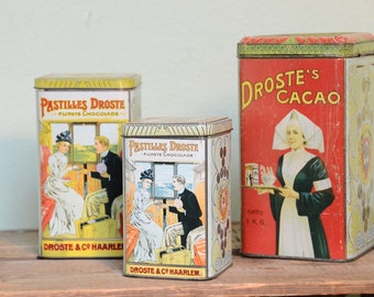 Vintage Dutch Droste cocoa powder tins vintage advertising kitchen storage set of 3 wedding gift housewarming gift