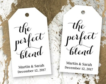 The Perfect Blend - Wedding Favor Tags - Coffee Wedding Favors - Tea Wedding Favors - Drink Wedding Favors - Custom Tags - LARGE