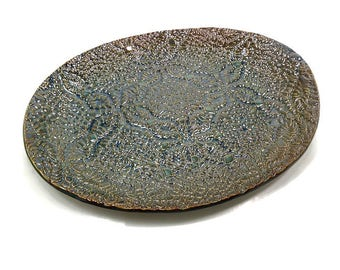 Ceramic Oval Platter, Hostess Gift, Blue Copper Kitchen Decor, Large Oval Serving Dish, Ceramic Serving Tray, Party Platter, Lace Pottery