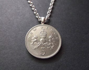 United Kingdom British 5 New Pence Coin Necklace - British Coin Pendant with Bail and Chain