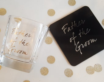 Father of the Groom Whiskey Glass & Coaster