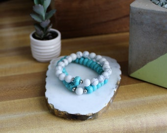 B216 Set of two Bracelets - Marble Bracelets  - Friendship Bracelet - Arm Candy - Boho Jewelry - Claribella