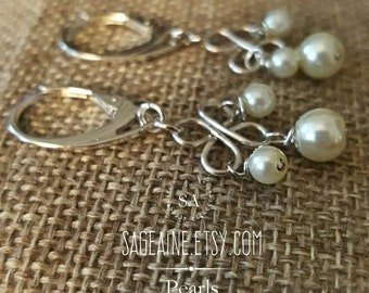 SageAine: Pearl Trinity Sterling Silver  Earrings , Bridal, Wedding, Gift for her, Mother's Day, June Birthstone