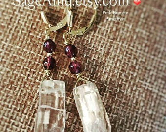 SageAine : Kunzite and Amethyst Gold Leverback Earrings,  Reiki Charged, Crystal Healing, Crown and Heart Chakras