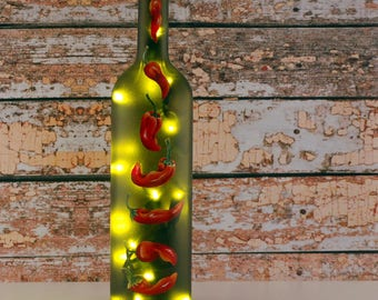 Red chile peppers, wine bottle lamp, hand painted, red and green, accent lamp, kitchen decor, bar decor, Southwestern style