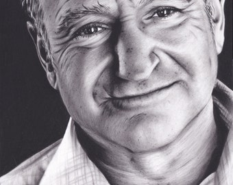 16x20 Inch Matted Print of Original Charcoal Drawing of Robin Williams